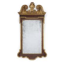 George II giltwood and mahogany pier mirror, 18th century
