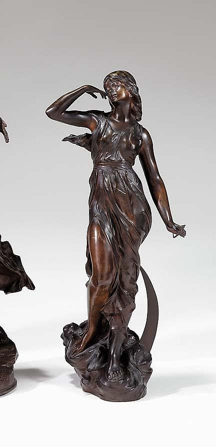 Julien Causse (French wk. 1890-1914), moon maid, Bronze, dark brown patina, modeled as a draped female standing over a crescent moon.