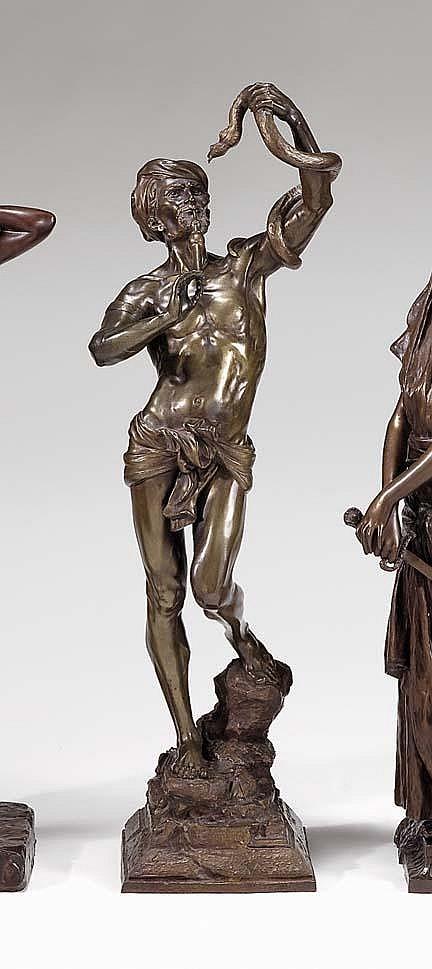 Auguste de Wever (Belgian 1836-1884), snake charmer, Bronze, medium brown, signed de Wever and inscribed Salon De Bruxelles / 1884. .