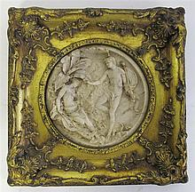 Edward William Wyon (English, 1811-1855), A relief carved marble plaque, mid 19th century, The roundel carved in relief with classical