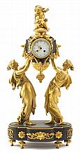 Louis XVI style gilt and patinated bronze mantle clock, 19th century, in the style of charpentier, retailed by black, starr, and frost,
