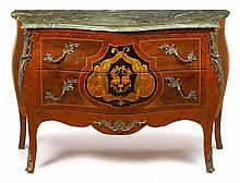 Louis XV style mahogany and kingwood gilt metal mounted marble top commode, 20th century, The serpentine green marble top with molded e