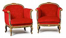 Italian Neoclassical style giltwood and ebonized salon suite, late 19th/early 20th century, Comprising a settee and four bergères: the