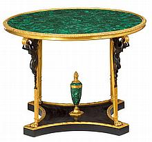 Empire style gilt bronze and malachite center table, 20th century, after the fontainebleau model attributed to adam weisweiler and, ...