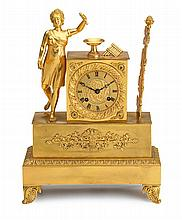French Empire gilt bronze mantel clock, 19th century, movement signed robert a paris, The dial with circular calendar ring with Roman n