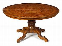 Italian parquetry inlaid breakfast table, 19th century, The circular top with star motif radiating to a series of lozenge and geometric