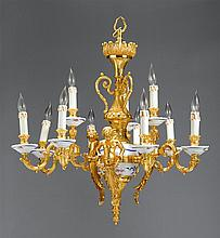 Italian gilt bronze and porcelain twelve-light chandelier, 20th century, The baluster form standard with floral painted porcelain spher