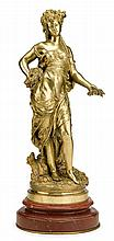 Auguste Moreau (French, 1834-1917) large gilt bronze figure of a maiden, late 19th/early 20th century, retailed by tiffany & co, Finely