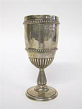 Victorian silver kiddush cup, london, 1870-71, Typical form with fluted lower body, two beaded bands, and gilt-washed interior, raised