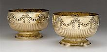Fine pair of Victorian silver-gilt centerpiece bowls, john henry williamson, london, 1888-89, Fluted lower body below repoussé-worked f