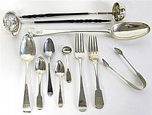 Collection of British silver flatware, late 18th/early 19th century, mostly london, Including several forks and spoons by various Londo
