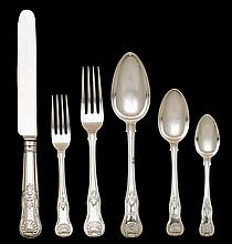 George IV silver flatware service for twelve, william eley & william fearn, london,1818-19,