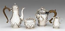 Edward VII silver four-piece coffee and tea service, c s harris & sons ltd., london, 1908-28, retailed by james robinson, new york, Com