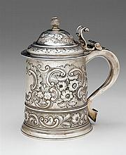 George I silver tankard, edward vincent, london, Cylindrical form repoussé-worked to show floral blossoms, foliage, and C-scrolls on a