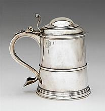 George I Britannia standard silver tankard, thomas farren, london, 1719-20, Tapering cylindrical form, hinged domed cover with scroll t