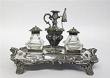 Victorian silver inkstand, henry wilkinson & co, sheffield, 1846-47, Shaped rectangular base with foliate scrolled rim, fitted with two
