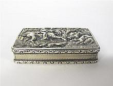 William IV silver snuff box, of sporting interest, edward smith, birmingham, 1832-33, Rectangular shaped, hinged lid with landscape sce