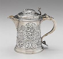 George I Britannia standard silver tankard, samuel wastell, london, 1719-20, Cylindrical form repoussé-worked and incised with all over