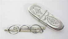 George III silver spectacles case and spectacles, the case thomas hobbs or thomas harper i, london, 1807-08, The oval case in two secti