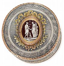 Rare French Louis XV silver, vari-color gold and enamel snuff box, antoine dutry, paris,1765, Circular form, the cover inset with a fin