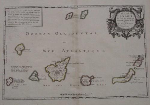 1 piece.  Hand-Colored Engraved Map. Sanson dAbbeville, Nicolas. Les Isles Canaries. Paris: Pierre Mariette, 1653.