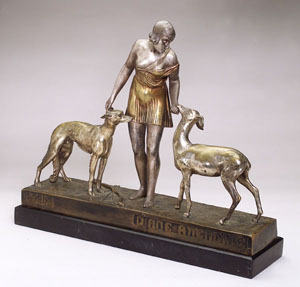 SUZANNE BIZARD (FRENCH 1873-1963) Diane Attendrie Nickeled (?) bronze, signature to base, h: 16 1/2 in.