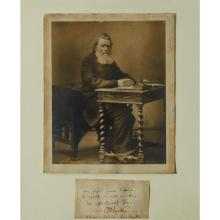 (Autographs : Literary). Letter Closing Signed, framed with photo portrait by William Barraud (albumen print, ca. 1885, 10 x 8 inche...