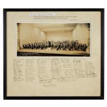(Autographs : Music and Performing Arts). Ormandy, Eugene. Philadelphia, 1942. Silver print group portrait of Eugene Ormandy and the...