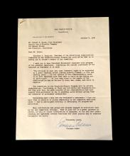 Lot Autograph Material - American and World Political and other Notables: Acheson, Dean, Typed Letter Signed, January 15, 1949, 1p.,...