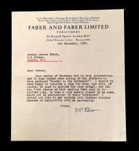 (Autographs : Literary). Typed Letter Signed. Eliot, T.S. London, December 5th, 1955. 1 p., 4to; light vertical crease alone old fol...