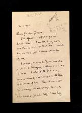 (Autographs : Literary). Letter Signed. Forster, E(dward) M(organ). No place, 2-4-[19]46. 2 p., small 8vo; light crease along old fo...