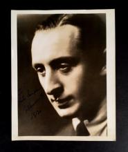 1 Piece. (Autograph material). Horowitz, V(ladimir). Photograph signed and inscribed. Silver print, 10 x 8 inches; 254 x 202 mm; ver...