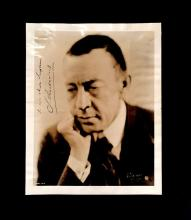 1 Piece. (Autograph material). Rachmaninov, S(ergei). Photograph signed and inscribed. Silver print, 10 x 8 inches; 254 x 202 mm; li...