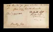 (Autographs : Literary). 1 Piece. Letter Closing Signed. Scott, [Sir] Walter. Edinburgh, April 7, 1802. 4 x 7 1/2 inches; 99 x 190 m...