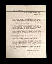 (Autographs : Cultural Icons). Keller, Helen. Typed Letter Signed. New York, November 3, 1948.  1 p., 4to; light creasing along...