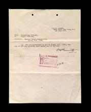 (Autographs : American). 1 Piece. Document Signed. Nimitz, [Admiral] Chester. New York: U. S. S. Maumee, Navy Yard, July 18, 1917. 1...