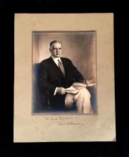 1 Piece. Photo Portrait Inscribed and Signed. Hoover, Herbert. Seated silver print portrait after a painting. 9 x 7 inches; 226 x 17...