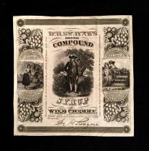 (Ephemera). 3 Pieces. 19th-century Job Printing: Engraved pictorial label,