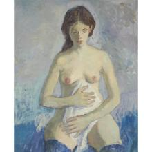 MOSES SOYER, (AMERICAN, 1899-1974), UNTITLED (FEMALE NUDE WITH BLUE STOCKINGS)