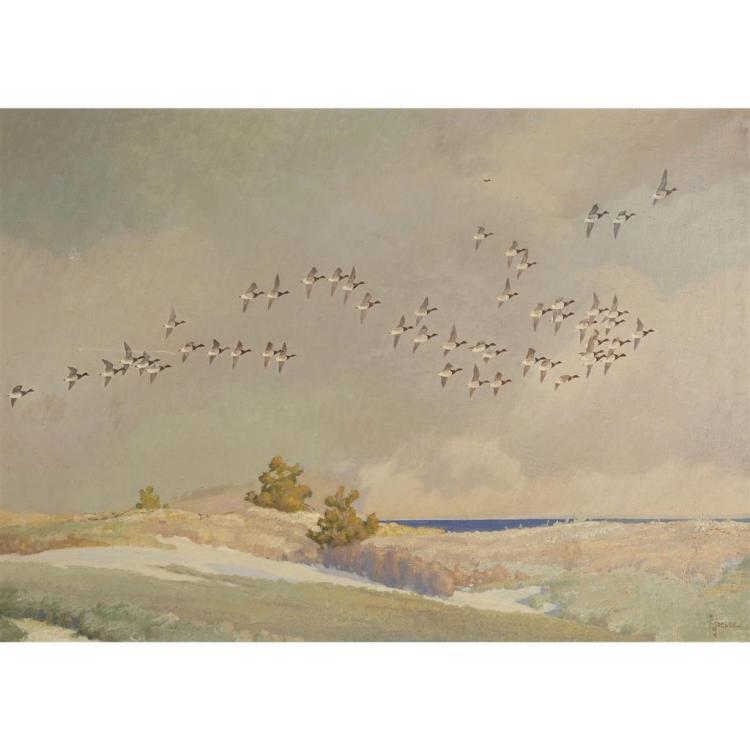 FRANCIS LEE JAQUES, (AMERICAN 1887-1969), GEESE IN FLIGHT