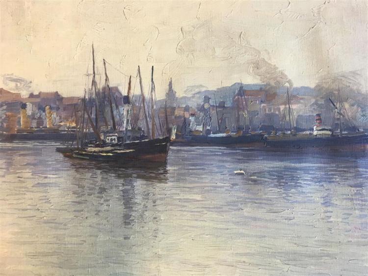 EDWARD WILLIS REDFIELD, (AMERICAN 1869–1965), HARBOR SCENE