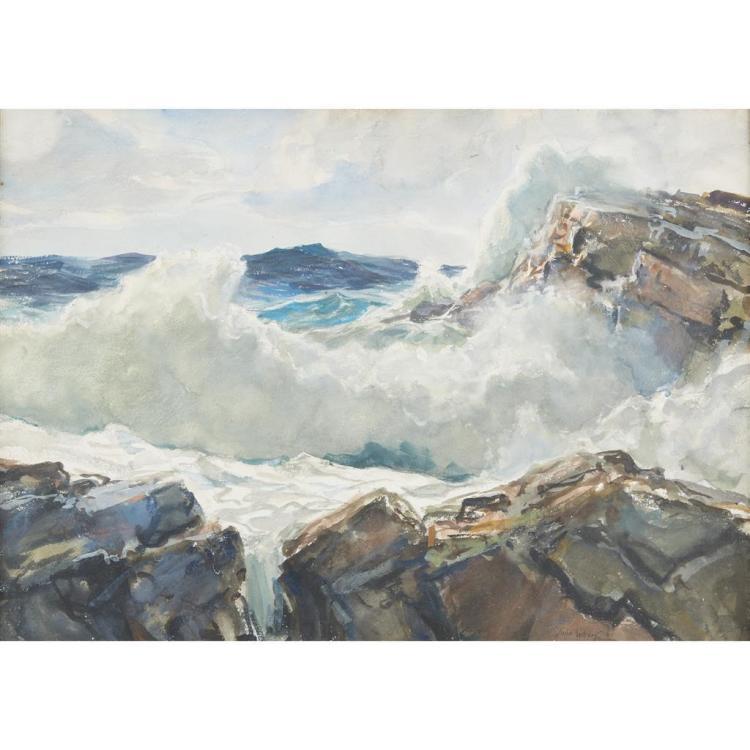 JOHN WHORF, (AMERICAN 1903–1959), OCEAN SURF IN MAINE