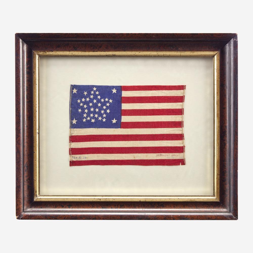 A 38-Star American National Parade Flag commemorating Colorado statehood 1876-1889
