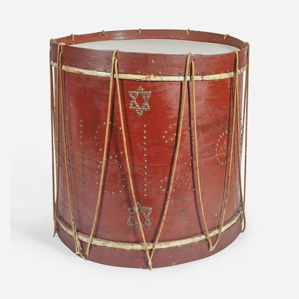 """An American military painted drum with brass tacks Dated """"1812"""""""