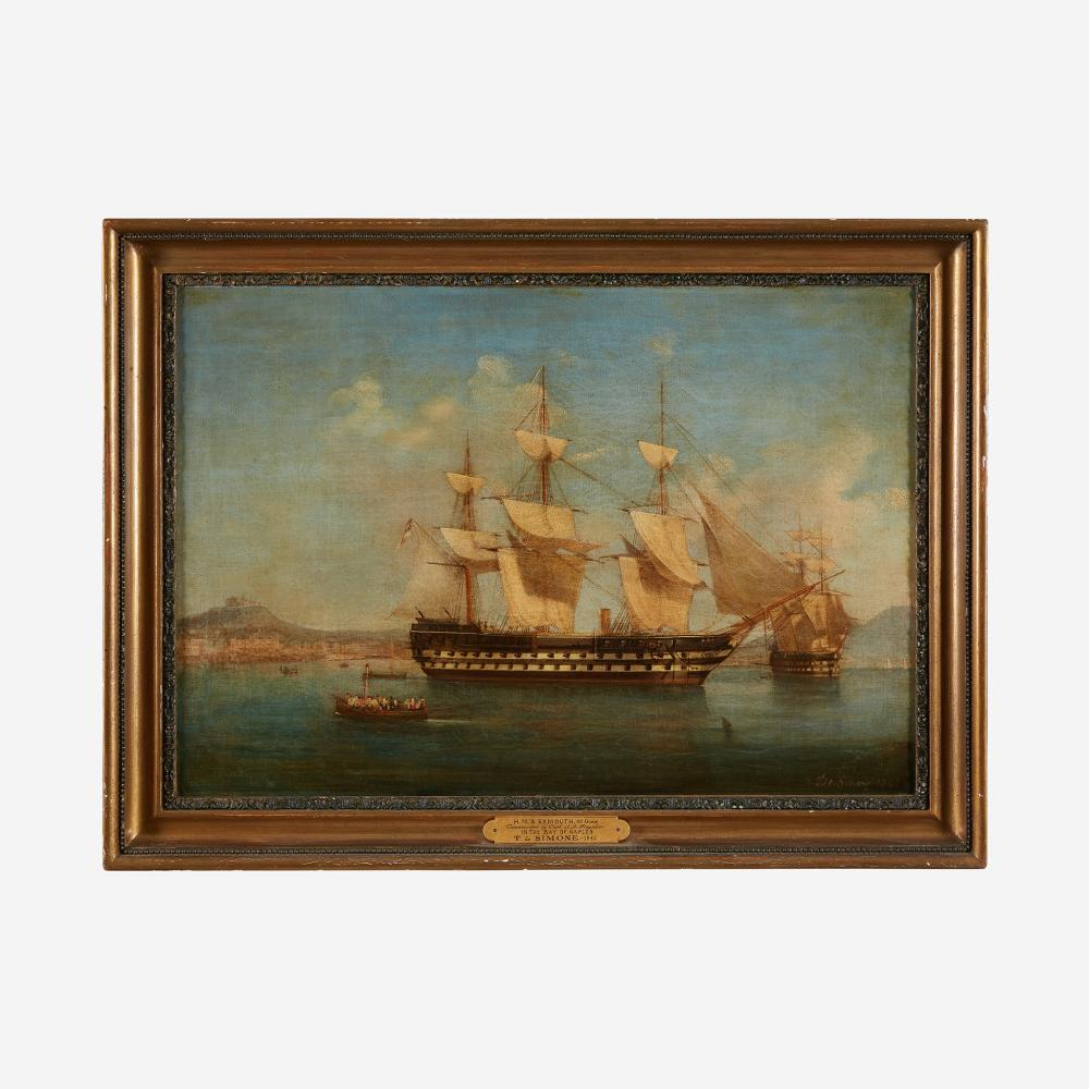 """Tommaso de Simone (Italian, c. 1805-1888) H.M.S. Monmouth in the Bay of Naples, dated """"1842"""""""