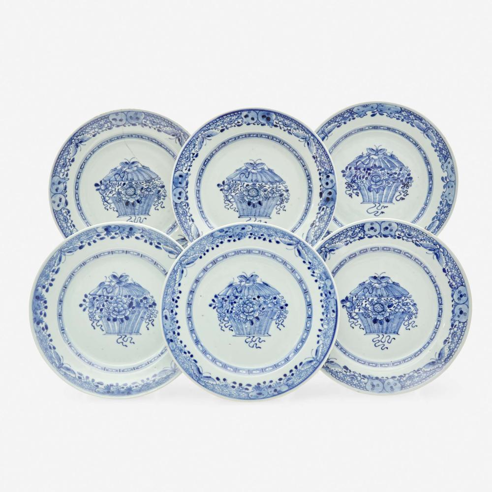 """A set of six Chinese Export porcelain blue and white plates with """"floral basket"""" motif late 18th century"""