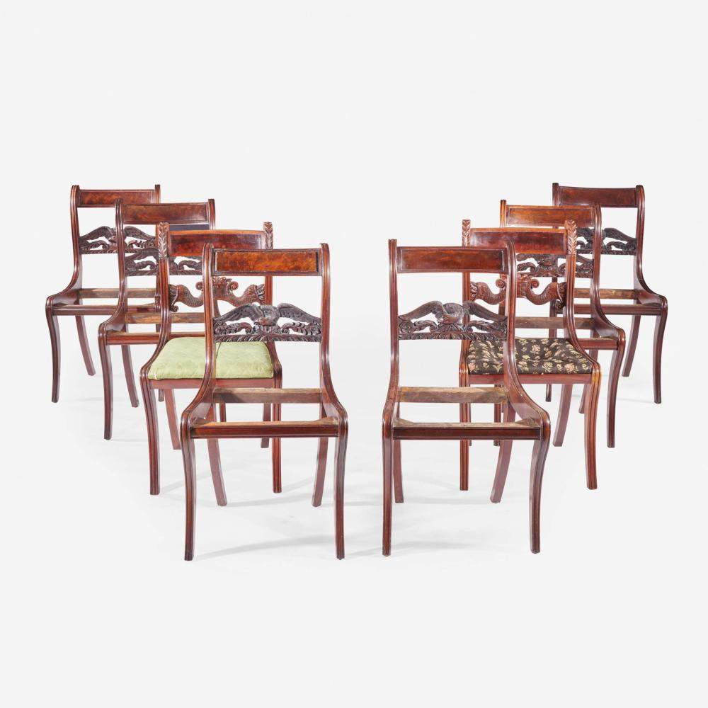 Set of six Federal carved mahogany eagle-back klismos chairs New York, NY, circa 1820