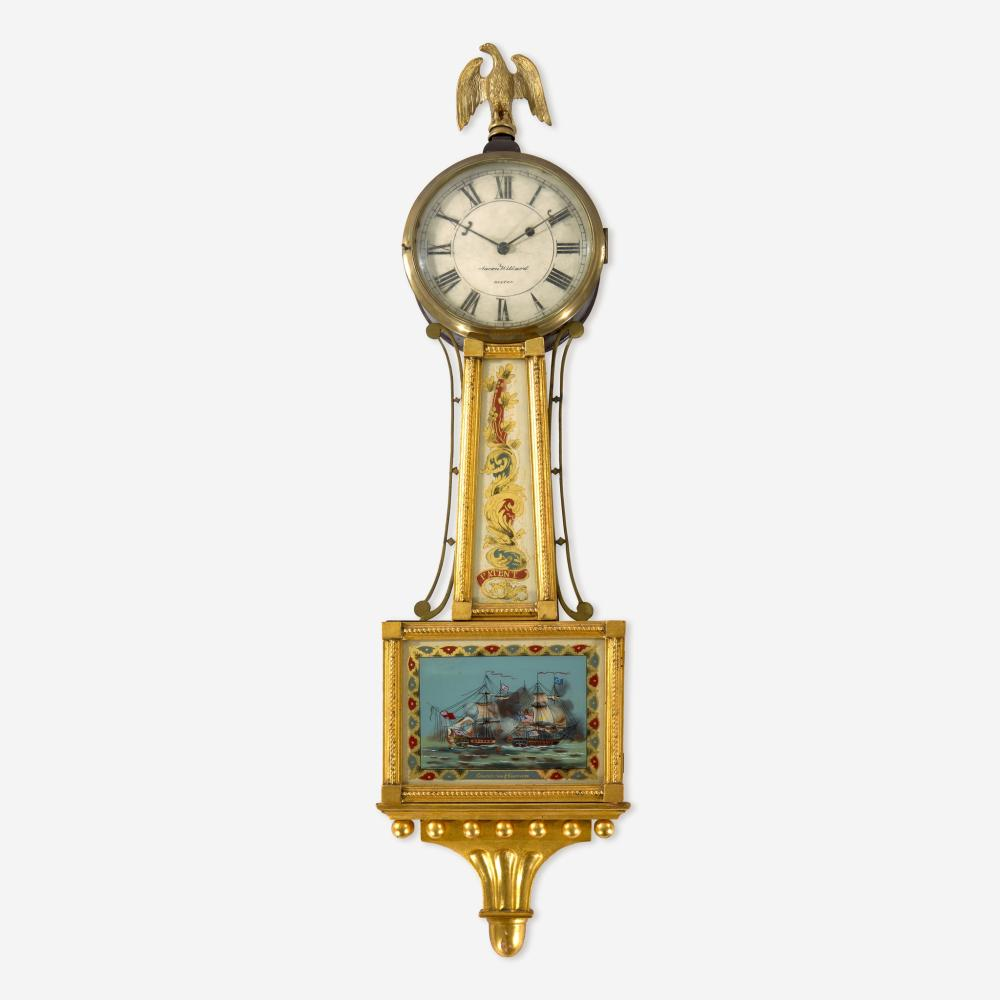 """A Federal giltwood and églomisé banjo clock Aaron Willard (1757-1844), Boston, MA, the works marked """"Elnathan Taber Boston Masstts 1821,"""" early 19th century"""