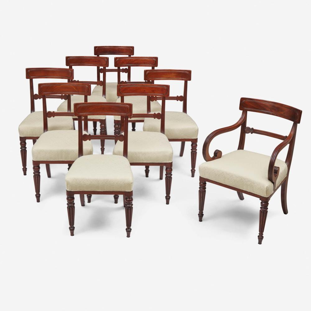 A set of ten Classical carved mahogany dining chairs Boston, MA, circa 1815
