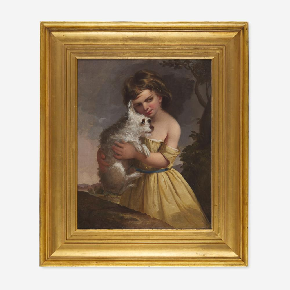 Thomas Sully (1783-1872) Portrait of a Young Girl Holding Pet Terrier